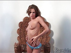 Addison rose strips and masturbates her pussy tubes