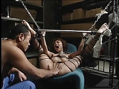 Mouth and legs forced open for japanese girl tubes