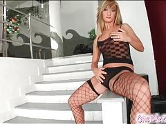 Fishnets girl vigorously fucks her pussy tubes