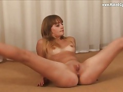 Small tits ballerina does splits and shows her pussy tubes