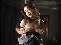 Tied up japanese girl fingered in her cunt tubes