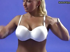 Fake tits blonde does sexy splits on camera tubes