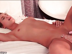 Shaved lesbians munch cunt in 69 tubes