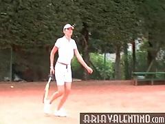 Aria valentino plays tennis outdoors tubes