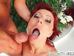 Naughty redhead in black socks butt fucked tubes
