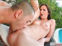 Sexy outdoor fuck with a lusty creampie tubes