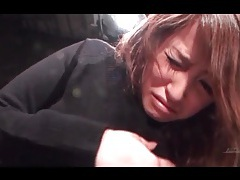 Japanese girl in black sweater groped in close up tubes