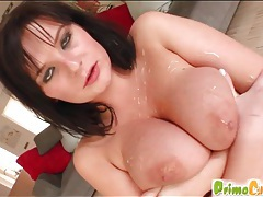 Two cumshots on big tits of cutie tubes