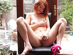 Redhead cutie kara playing with her pussy tubes