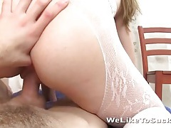 Pov sex on sexy girl in lace lingerie tubes