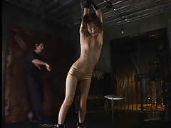 Skinny girl in rubber panties whipped after bj tubes