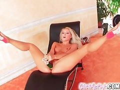 Sexy tanned blonde fucks cunt with big toy tubes