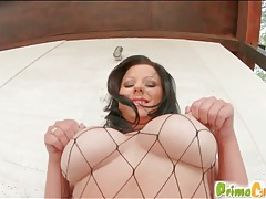 Chick in fishnet body stocking fucked tubes