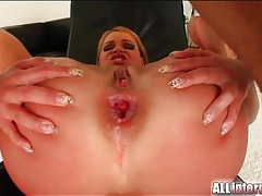 Hard butt fucking of slut stretches her out tubes
