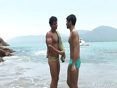 Beach sucking and fucking with latin guys tubes