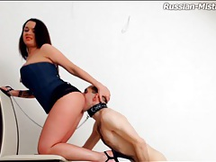 Licking mistress ass and taking her piss tubes