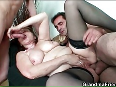 Grandma in glasses and stockings has threesome sex tubes