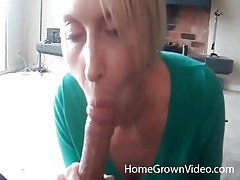 Blonde milf sucks dick with her titties out tubes