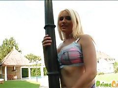 Outdoor hardcore with curvy blonde chick tubes
