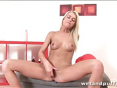 Masturbating blonde squirts hard in pussy play tubes