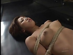 Bound girl cries out in pain during hot wax play tubes