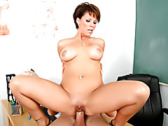 Teacher sits on cock tubes