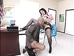 Sensual brunette vixen welcomes her teachers meat ruler into her warm wet snatch tubes