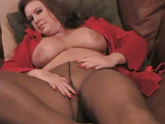 BBW Delila Poses in Pantyhose tubes