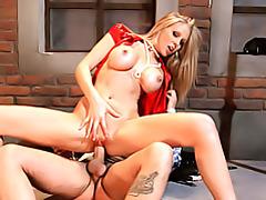Naughty babe rides dick tubes