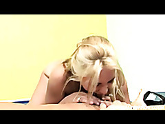 busty blonde Sarah Vandella work her pussy with her Karate trainor tubes