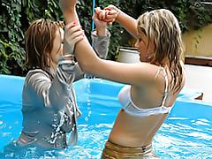 Satin babes in pool tubes