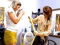 Messy girls in hair salon tubes