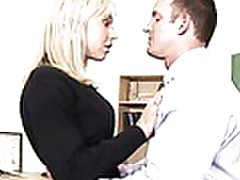 Busty blonde teen Jessica Lynn riding the school admins cock tubes