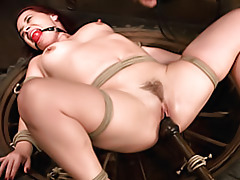 Bound girl in a ball gag tubes