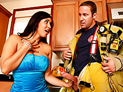 Latina milf sucks a fireman tubes