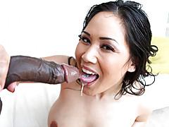 Big booty girl goes black tubes