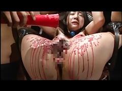 Enema given to japanese girl in bondage tubes