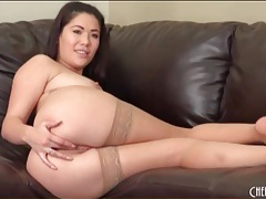 London keyes masturbates in tan stockings tubes