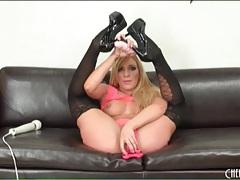 Masturbating babe amy brooke in black stockings tubes