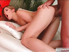 Shaved pussy receives big creampie tubes