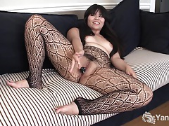 Asian hermine toying her hairy pussy tubes