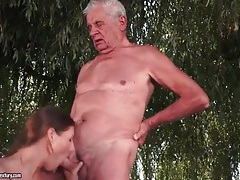 Two grandpas fuck young slut outdoors tubes