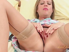Satin and sexy seamed stockings on milf tube