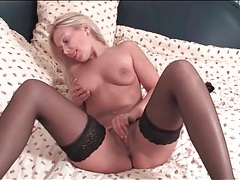 Blonde milf is a total babe in black stockings tubes