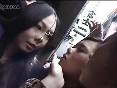 Japanese lesbian kissing in public tubes