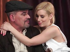 Pretty blonde gives older man a blowjob tube