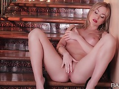 Masturbating babe in sexy red lipstick tubes