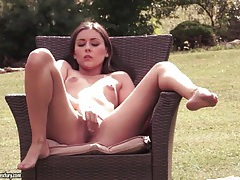 Small tits solo girl fingers her cunt outdoors tubes