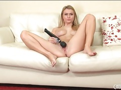 Gorgeous blonde with big tits masturbates tubes