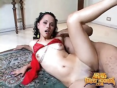 Hottie in red high heels fucked by big cock tubes